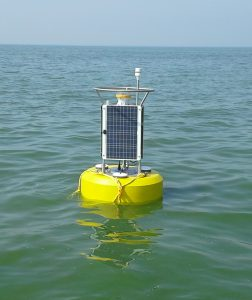 Buoy in western Lake Erie for harmful algal bloom monitoring and research, July 29, 2015. Credit: NOAA